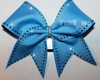 Gorgeous Allstar Cheer Bow by FunBows made with black and silver rhinestones !