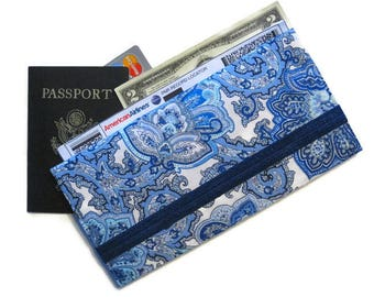 Travel Wallet, Blue Passport Case & Boarding Pass Holder, Family of 4 5 6 Fabric Passport Wallet, Long Travel Wallet, Travel Gift - Delft