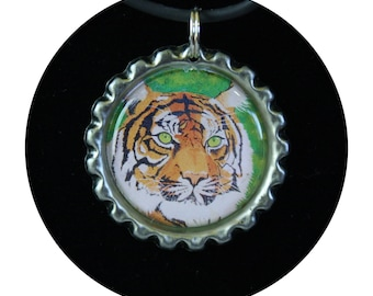 Tiger Pendant Gift, necklace tiger, tiger jewelry gift, wild animal jewelry, tiger party favor, art print necklace, Bengal tiger, Item #TN1