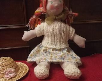 "waldorf doll inspired doll, 18"", 46cm, soft doll, natural doll, toddler, bamboletta, toddler gift"