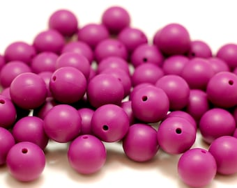 15mm - Lot of 10 Plum Loose Silicone Beads for Silicone Teething Necklace