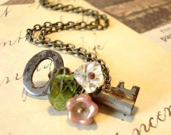 Key Necklace Secret Garden Key Old Key Pendant Whimsical Jewelry Wire Wrapped Flowers, Jewelry