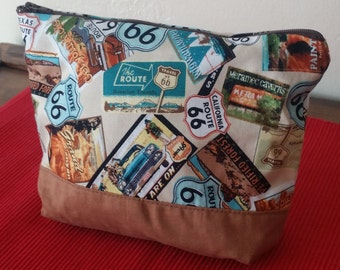 Retro-fabulous Route 66 bag / zip up pouch for cosmetics, toiletries, travel