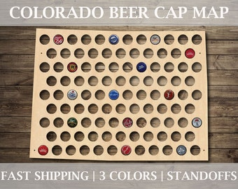 Colorado Beer Cap Map | With Standoffs | State Beer Cap Map | Bottle Cap Map | Gifts For Him | All States Available