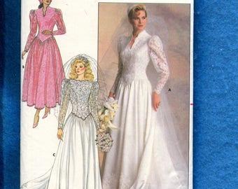 1987 Butterick 4646 Drop Waist Princess Seam Bodice Wedding Dress with Puff Sleeves Size 8