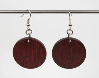 Padauk Earrings, Wooden Drop Earrings, Round Wooden Earrings, Wood Earrings, Wooden Dangle Earrings, Red Earrings, African Earrings