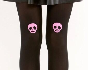 Pink glitter skull tights/ Halloween tights / Goth tights pantyhose