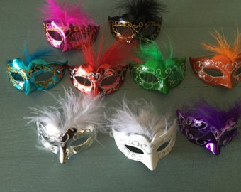 12 Mini Mardi Gras Feathered GLITTER MASK party decorations wedding quince favor cupcake topper cake centerpiece scatter napkin ring