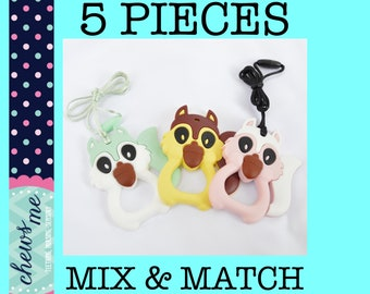 BULK 5 PIECES Squirrel silicone teether, teething necklace, nursing necklace, sensory necklace chew chewelry supply Autism ADHD Aspergers