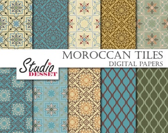 Morocco Tiles, Papers, Bohemian Digital Paper in blue and beige, Morrocan mosaic patterns A137