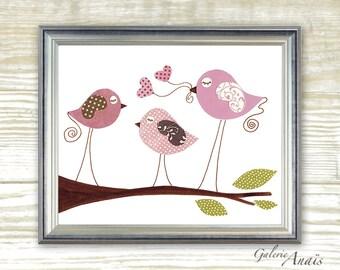 Nursery art prints - baby nursery decor - nursery art - Baby Room Decor Wall Art Birds - Love You so Much print