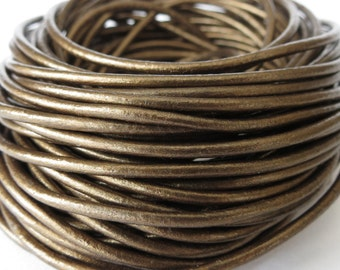 10 meters round leather cord in metallic bronze, 2mm leather cord for bracelet making, UK craft supplies