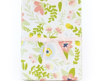 Cream Floral Wrapping Paper - 3 sheets
