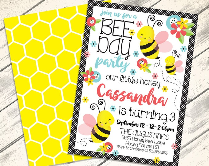 Bee Day Party Invitation - Our little Honey, Bee-Day Invitation, Bumble Bee Birthday, Spring | DIY Editable Text INSTANT DOWNLOAD Printable