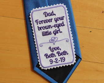 Father of the Bride Gift, Custom Personalized Rectangular Tie Patch. Square necktie patches for Dad Tie Patch. Best. Wedding. TPR17