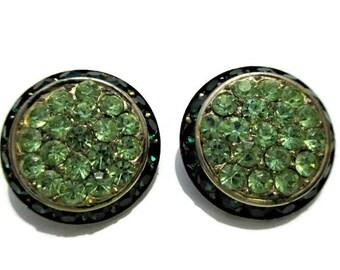 Vintage Lisner Green Rhinestone Clip On Earrings