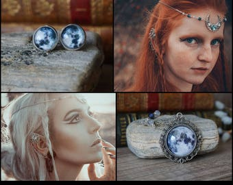 "Elf Ear Set ""Moon"", includes 3 or 4 pieces"