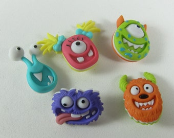 Monster Faces Novelty Buttons
