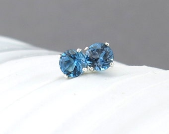 London Blue Topaz Earrings Tiny Silver Earrings London Blue Topaz Stud Earrings Gemstone Post Earrings 4mm Silver Stud Earrings Gift for Her