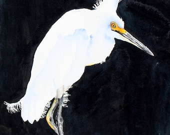 Egret beach bird painting original watercolor  Snowy Egret by Betty Moore