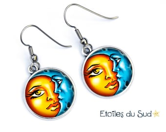 Christmas earrings women gift meets Moon and Sun, surgical steel hooks, ref.35