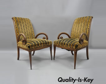 Pair Grosfeld House Mahogany Armchairs Plume Feather Carved Hollywood Regency