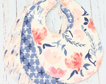 Girl Baby Bibs, Bibs for Baby Girl - Set of 3 Triple Layer Chenille - Pink, Cream, Blue - WATERCOLOR BLUE FLORAL