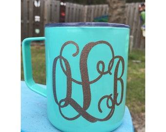 14oz monogram insulated coffee mug, custom coffee cup, monogram coffee cup, gifts for her, monogram insulated cup,  Mother's day
