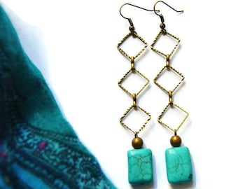 Vintage Turquoise Long Dangles