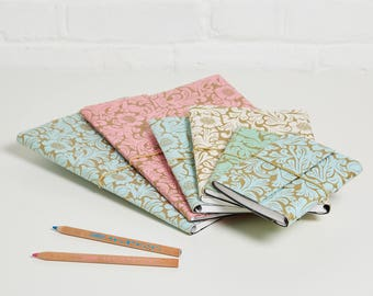 100% recycled gold floral design a5 notebook