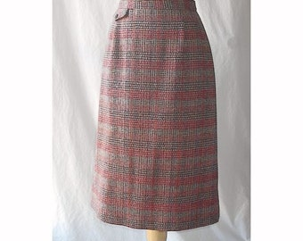 Red and Brown Plaid Wool Straight Skirt W28 M Prestige Vintage 60s 70s