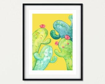 Cactus Wall Art Print, Fun Cactus Print, Cactus Gift for Kids Rooms, Cactus Decor, Cactus Theme Nursery, Bright Girls Decor