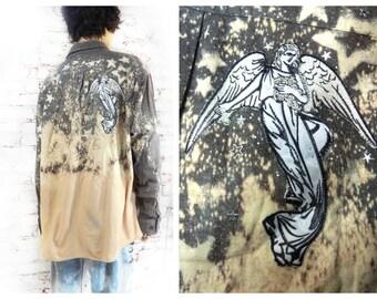 Ombre Flannel Shirt,  grunge shirt, galaxy shirt ,  Boyfriend shirt, upcycled shirt,  size  X L ,  # S T 9