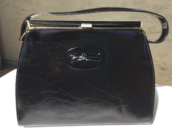 A Naturalizer Handbag 1960s era Simulated Leather black patent pocketbook classic style Bow Detail
