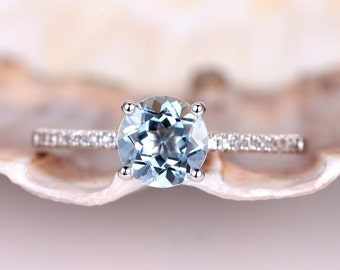 14k White Gold Floral Aquamarine Engagement Ring Bridal Set of