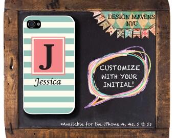 Preppy Stripe Phone Case, Personalized iPhone Case, Monogrammed iPhone, iPhone 4, 4s, iPhone 5, 5s, 5c, iPhone 6, 6s, 6 Plus, Phone Case