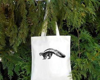 Skunk Tote - Striped Skunk Illustrated Cotton Tote Bag - Book Bag - Gift for Animal Lover - skunky - Canadian Mammal Canadian Wildlife