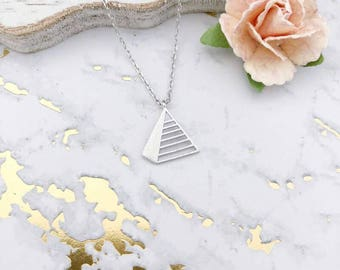 Silver Triangle Pyramid Dainty Necklace