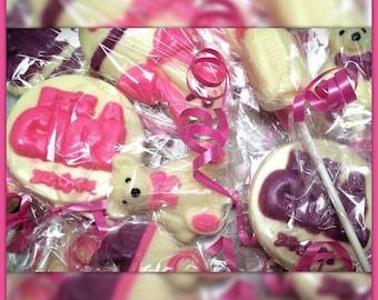 12 Baby Shower Chocolate Lollipops (Baby shower favors, gender reveal favors)