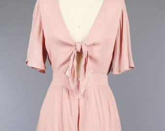 Embroidery Romper Featuring  V-Neckline And  Cutout  With  Front Tie