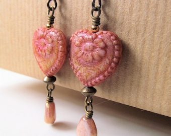 Rose Pink with a Hint of Yellow Czech Glass Heart with Flowers and and Dangling Teardrop Beads Niobium Earrings - Love - BeadedTail