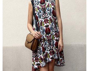 Boho floral prints tunic dress resort dress