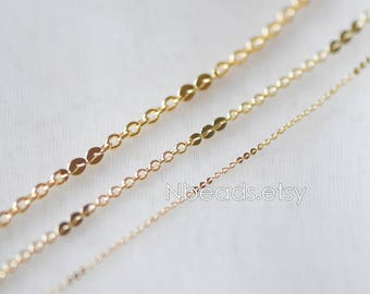 Gold plated Brass Round Cable Chains, Real Gold Designer Chain,1/ 2/ 2.7mm Thin Decorative Chains (#LK-104)/ 1 Meter=3.3 ft