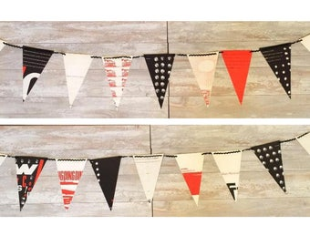 ONE Banner Flag Bunting for Nursery- Double-Sided Trains Vintage Book Baby Boy Girl Gender Neutral Red Black White