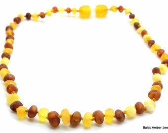 Natural unpolished amber necklace for children or baby teething 33 cm/13'