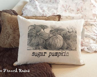 Sugar Pumpkin Pillow Vintage Style 12X16 Lumbar Style Ticking Autumn Fall Harvest Romantic Shabby Chic Cottage French Farmhouse Style Decor