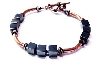 Hematite Copper Bracelet - Copper Bracelet - Copper Hematite Bracelet - Gray Stone Bracelet - Copper Jewelry - 7 Year Anniversary - 22nd