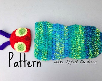 Colorful Caterpillar Cocoon and Hat Pattern - Newborn Baby Photo Prop - Crochet