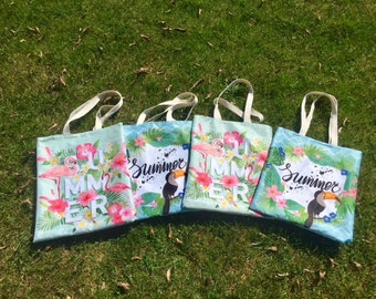 Toucan and Flamingo patterned tote bag