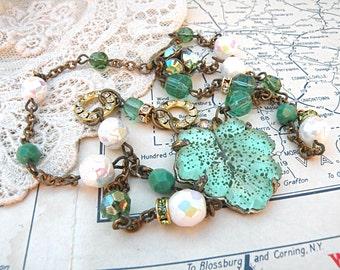 vintage assemblage necklace summer garden leaf green glass upcycled vintage flea market jewelry